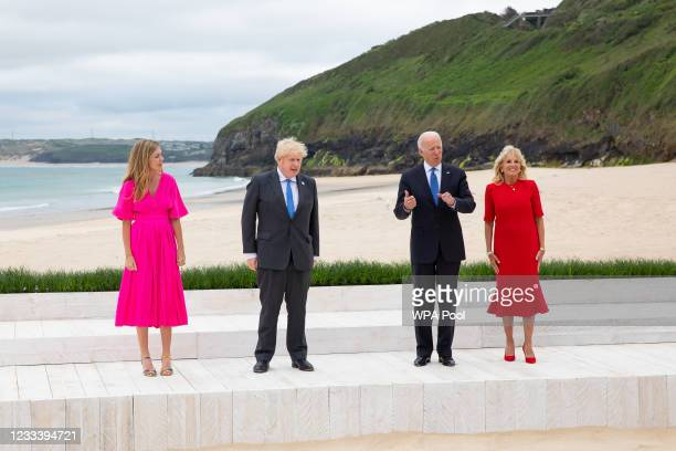 Prime Minister of United Kingdom, Boris Johnson and wife Carrie Johnson stand with US President, Joe Biden and US First Lady Jill Biden during the...