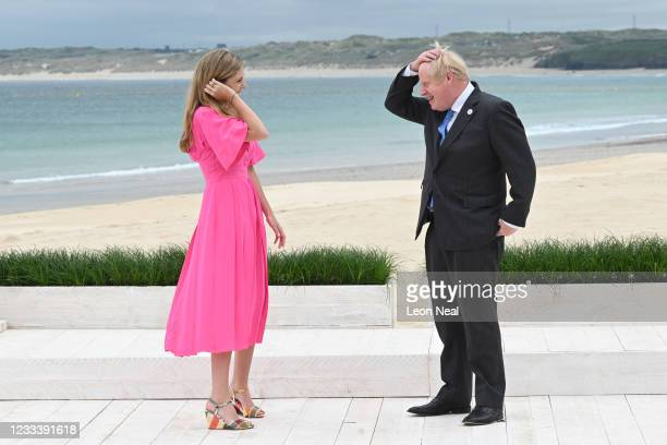 Prime Minister of United Kingdom, Boris Johnson, and wife Carrie Johnson, wait to greet guests for the Leaders official welcome and family photo...