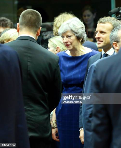 Prime Minister of United Kingdom Theresa May attend the European Council Meeting at the Council of the European Union building on October 19 2017 in...