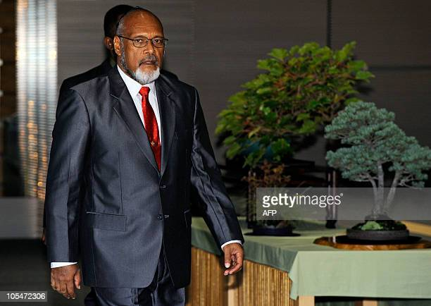 Prime Minister of Vanuatu and Chairman of the Pacific Islands Forum Edward Natapei arrives for a meeting with Japanese Prime Minister Naoto Kan at...