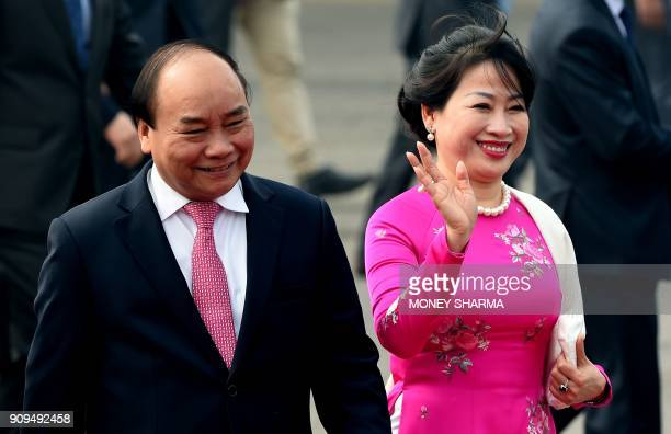 Prime Minister of Vietnam Nguyen Xuan Phuc and his wife Tran Thi Nguyet Thu arrive at the Indian Air Force Station Palam in New Delhi on January 24...
