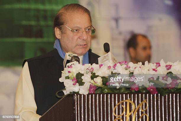 Prime Minister Pakistan Mian Muhammad Nawaz Sharif addressing during Seerat Conference a special prayer organization organized within the celebration...