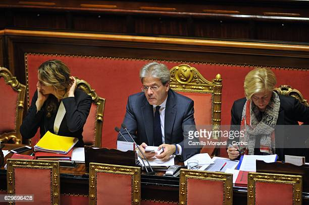 Prime Minister Paolo Gentiloni attends the Senat Assembly To Vote The Confidence To The Government on December 14 2016 in Rome Italy