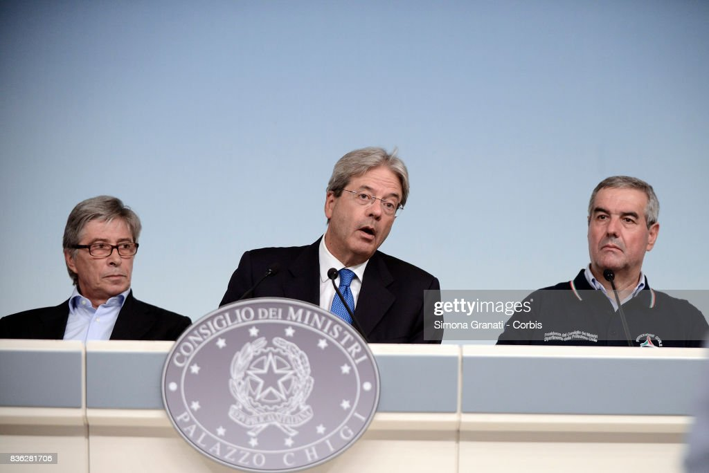 Prime Minister Paolo Gentiloni, Commissioner for Reconstruction, Vasco Errani, Head of Civil Protection Department, Angelo Borrelli, during a press conference at Palazzo Chigi on a year-long reconstruction of the first shakes, on August 21, 2017 in Rome, Italy.