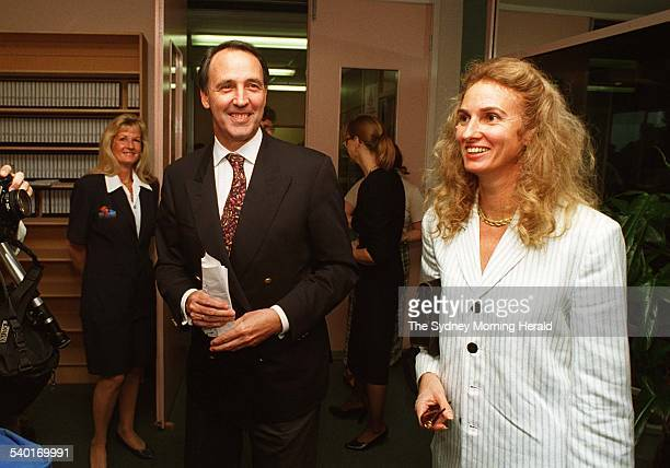 Prime Minister Paul Keating campaigning with his wife Annita at a local radio station in Lismore in northern New South Wales during the 1996 federal...