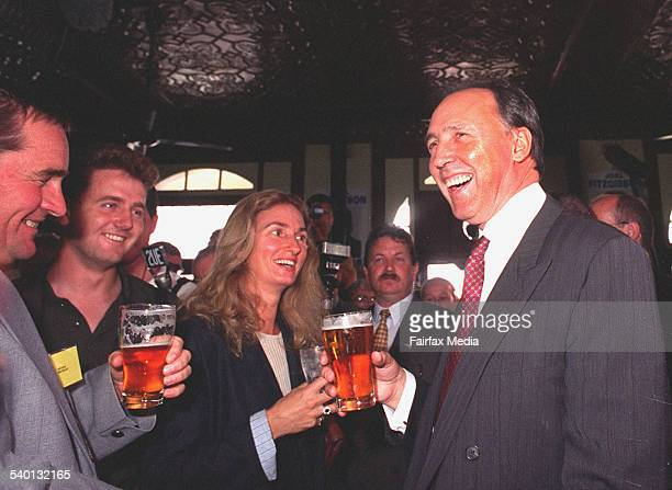 Prime Minister Paul Keating with his wife Annita Keating share a laugh with locals at the Caledonia Hotel in Cessnock 10 February 1996 NCH Picture by...