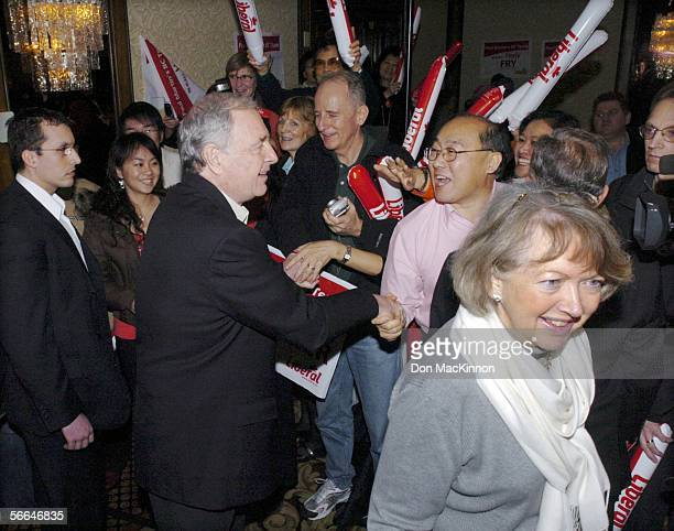 Prime Minister Paul Martin and wife Sheila greet supporters at a Liberal rally on the final day of campaigning before the election at the Delta...