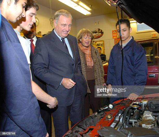 Prime Minister Paul Martin with his wife Sheila speak to students at the Princess Margaret Secondary School December 13 2005 in Surrey BC Martin is...