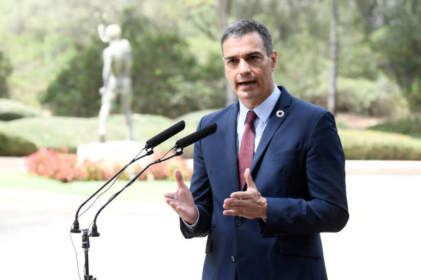 ESP: Prime Minister Pedro Sanchez Gives A Press Conference After Meeting King Felipe Of Spain