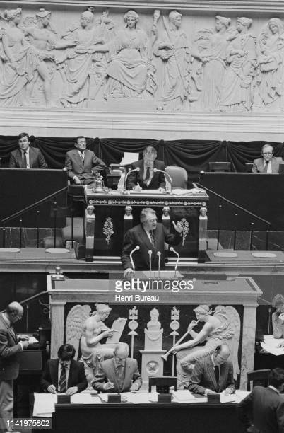 Prime Minister Pierre Mauroy presented on behalf of the government the draft law on nationalization before the National Assembly.