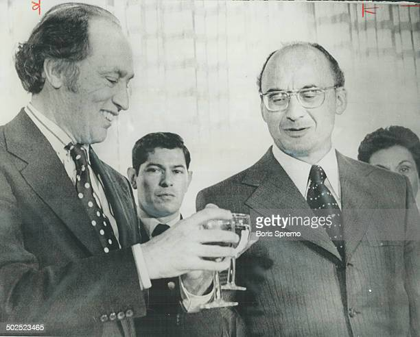 Prime Minister Pierre Trudeau and Mexican President Luis Echeverria toast each other a lunch at the Secretariat of Foreign Relations yesterday in...