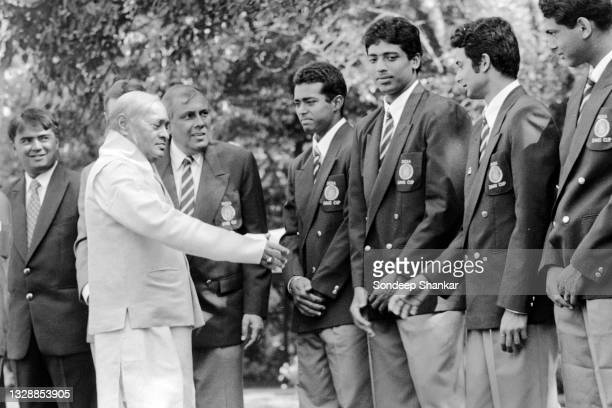 Prime Minister PV Narsimha Rao meeting players of the Indian Tennis team for Davis Cup Championship in New Delhi, March 30, 1995.