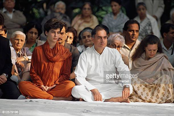 Prime Minister Rajiv Gandhi and his family daughter Priyanka and wife Sonia attend a memorial for his mother Indira Gandhi Indira served as prime...