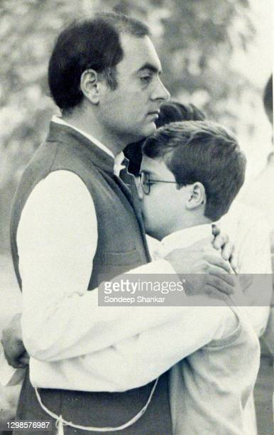 Prime Minister Rajiv Gandhi consoles his son Rahul after the killing of his mother Indira Gandhi at the Prime Minister's residence in New Delhi,...