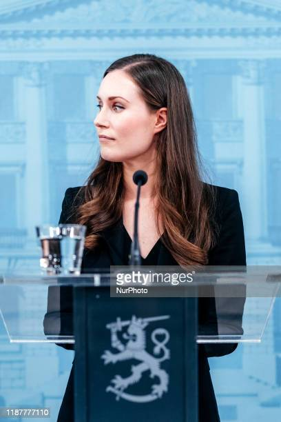 Prime Minister Sanna Marin at a press conference of the new Finnish government in Helsinki Finland on December 10 2019