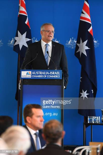 Prime Minister Scott Morrison addresses the AustraliaIsrael Chamber of Commerce on March 18 2019 in Melbourne Australia The Prime Minister has...