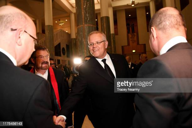 Prime Minister Scott Morrison and his wife Jenny Morrison attends the annual press gallery Midwinter Ball at Parliament House on September 18 2019 in...
