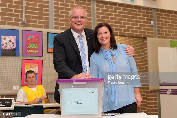 Prime Minister Scott Morrison and his wife Jenny Morrison cast their votes at Lilli Pilli Public School in the seat of Cook in Cronulla on May 18...