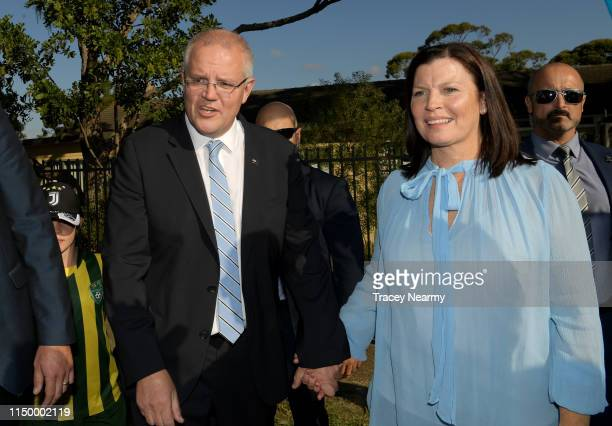 Prime Minister Scott Morrison and his wife Jenny Morrison leave after casting their votes at Lilli Pilli Public School in the seat of Cook in...