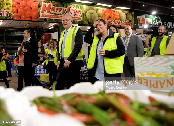 Prime Minister Scott Morrison and his wife Jenny Morrison shop for green chillies as they visits the Sydney Markets seat of Reid May 16 2019 in...