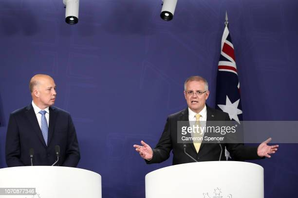 Prime Minister Scott Morrison and Minister for Home Affairs Peter Dutton speaks during a press conference on November 22, 2018 in Sydney, Australia....