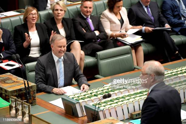 Prime Minister Scott Morrison and Opposition Leader Anthony Albanese during question time in the House of Representatives at Parliament House on July...