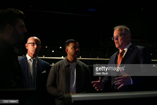 Prime Minister Scott Morrison and singer Guy Sebastian take a tour of the Sydney Coliseum Theatre at West HQ on June 25, 2020 in Sydney, Australia....
