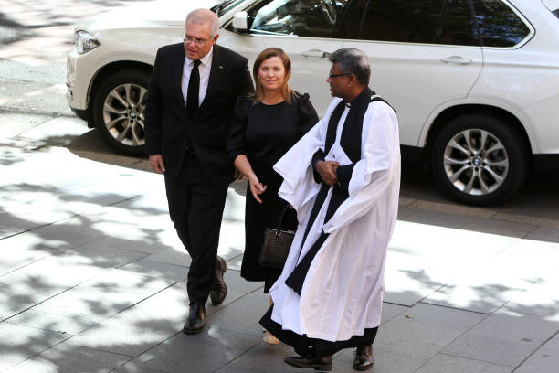 AUS: Prime Minister Scott Morrison Attends Church Service To Pay Respects To Prince Philip, Duke Of Edinburgh
