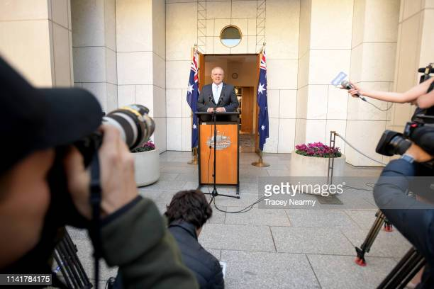 Prime Minister Scott Morrison announces the beginning of the federal election campaign on April 11 2019 in Canberra Australia Scott Morrison visited...