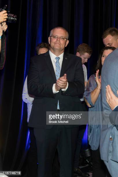 Prime Minister Scott Morrison applauds during celebrations at the Sofitel Wentworth on March 23 2019 in Sydney Australia The 2019 New South Wales...