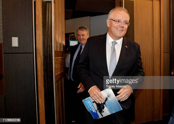 Prime Minister Scott Morrison arrives to speak at the National Press Club on February 11 2019 in Canberra Australia Morrison is announcing additional...