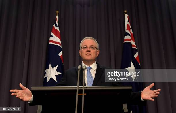 Prime Minister Scott Morrison at a press conference on national security ahead of Question Time at Parliament House on December 06, 2018 in Canberra,...