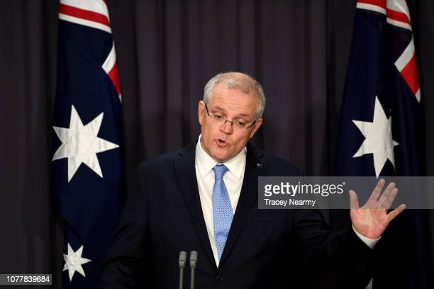 Prime Minister Scott Morrison at a press conference on national security ahead of Question Time at Parliament House on December 06 2018 in Canberra...