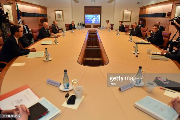 Prime Minister Scott Morrison at the start of a cabinet meeting at Parliament House, on October 6, 2020 in Canberra, Australia. It was the first...