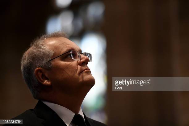 Prime Minister Scott Morrison attends a special prayer service to commemorate the death of Prince Philip, Duke of Edinburgh, at St Andrew's Cathedral...