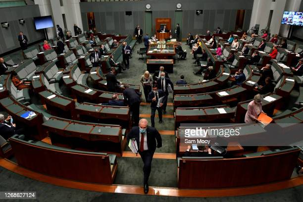 Prime Minister Scott Morrison departs Question Time in the House of Representatives at Parliament House on August 26, 2020 in Canberra, Australia....