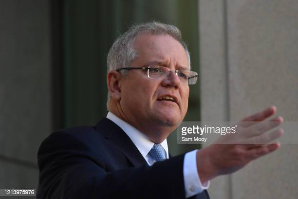 Prime Minister Scott Morrison during a press conference at Parliament House on March 22, 2020 in Canberra, Australia. The second federal stimulus...