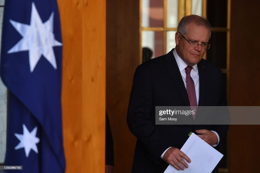 Prime Minister Scott Morrison Gives Press Conference As Latest Labour Force Figures Are Released : News Photo