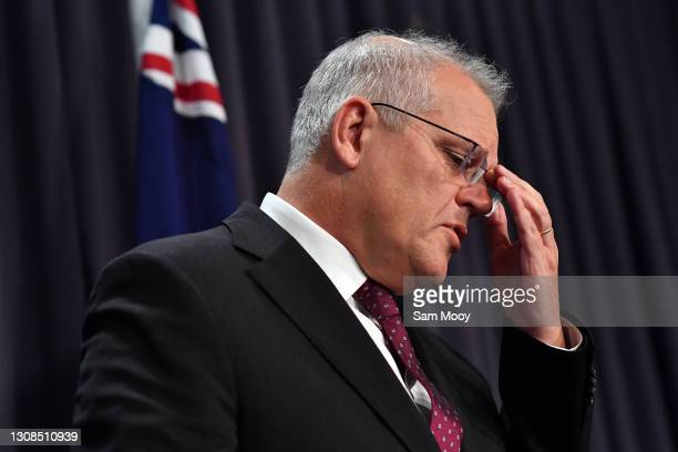 Prime Minister Scott Morrison during a press conference at Parliament House on March 23, 2021 in Canberra, Australia. The federal government was...
