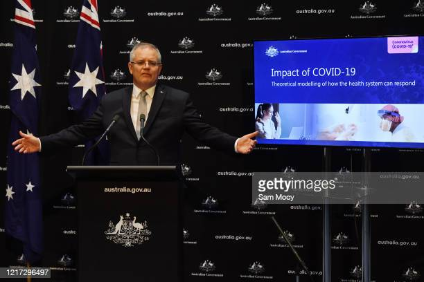 Prime Minister Scott Morrison during a press conference in the Main Committee Room at Parliament House on April 07, 2020 in Canberra, Australia....