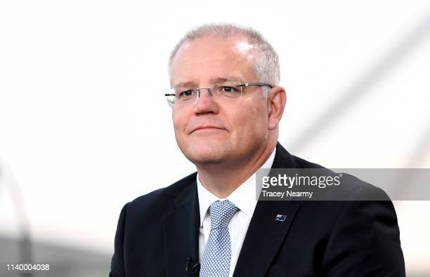 Prime Minister Scott Morrison during a television interview in front of Parliament House on April 3 2019 in Canberra Australia The Morrison...