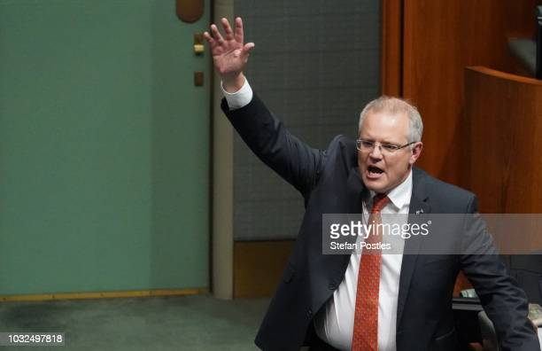 Prime Minister Scott Morrison during Question Time in the House of Representatives at Parliament House on September 13 2018 in Canberra Australia