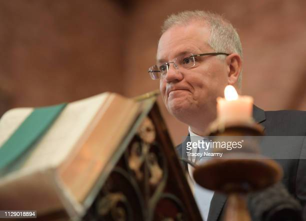 Prime Minister Scott Morrison gives a reading at a special ecumenical service to mark the start of the parliamentary year at St Paul's Anglican...