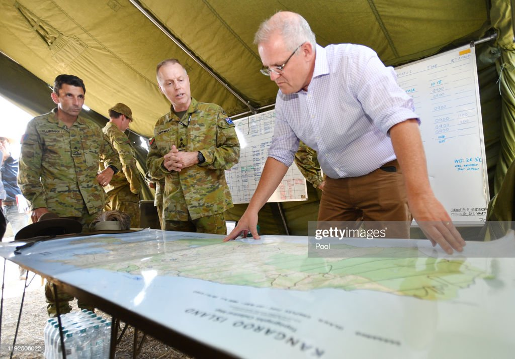 Scott Morrison Visits Bushfire Devastated Kangaroo Island : News Photo