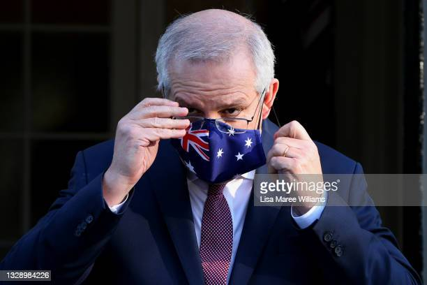 Prime Minister Scott Morrison is seen wearing a face mask during a press conference at Kirribilli House on July 16, 2021 in Sydney, Australia....