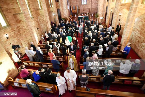 Prime Minister Scott Morrison leaves a special ecumenical service to mark the start of the parliamentary year at St Paul's Anglican church on...