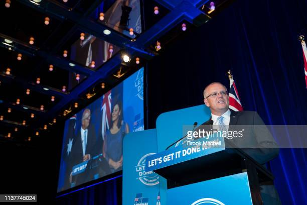 Prime Minister Scott Morrison makes a speech to celebrate the Liberal State victory at the Sofitel Wentworth on March 23 2019 in Sydney Australia The...