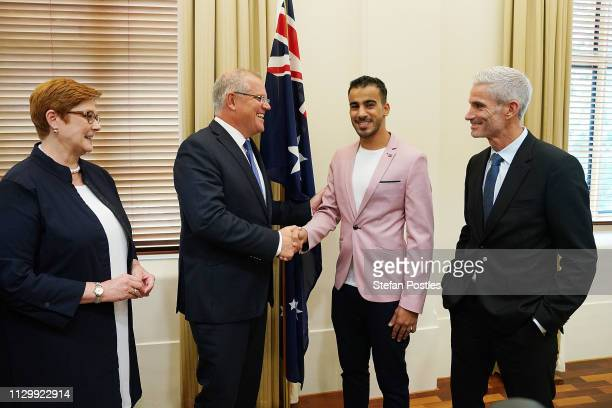 Prime Minister Scott Morrison meets with Hakeem al-Araibi at the Commonwealth Offices on March 12, 2019 in Melbourne, Australia. Bahraini refugee...