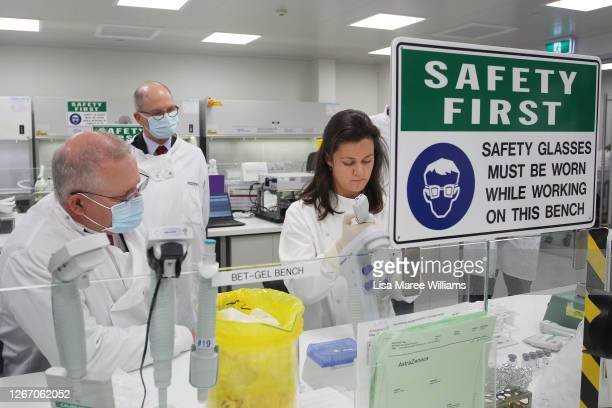 Prime Minister Scott Morrison meets with team member Savannah Alegre, Specialist Team Lead of the Microbiology Laboratory at AstraZeneca on August...