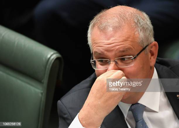 Prime Minister Scott Morrison reacts to questions from Labor frontbencher Anthony Albanese about why Malcolm Turnbull was ousted as Prime Minister...